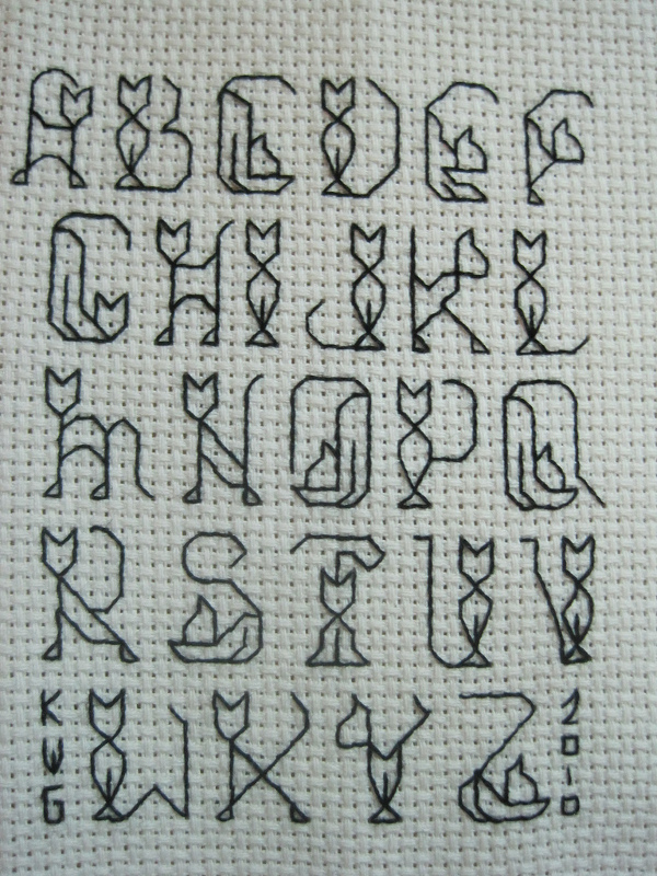 cat alphabet cross stitch