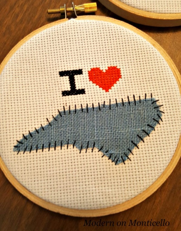 I heart my state cross-stitch project.