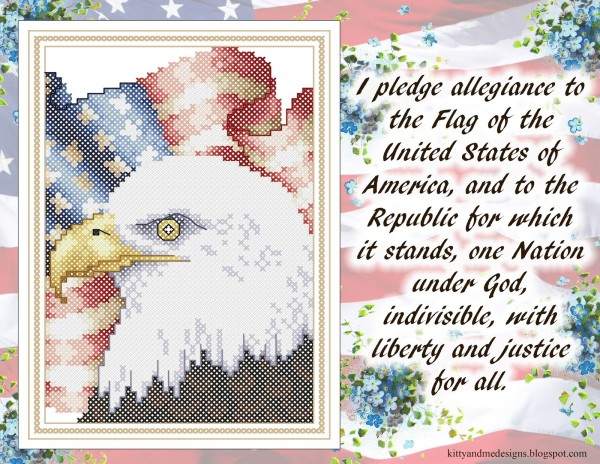 Eagle American flag cross stitch