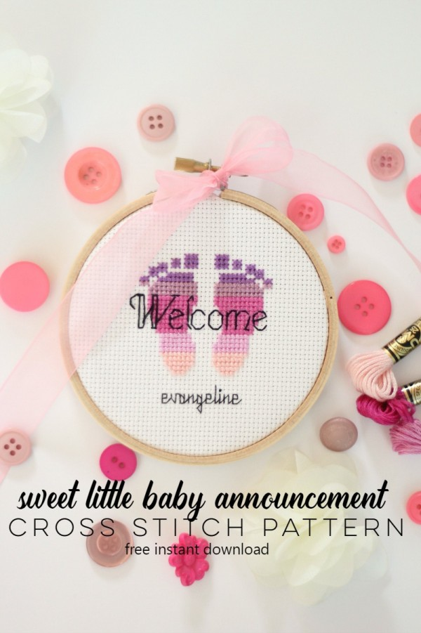 A Sweet Feet Baby Announcement to Stitch CrossStitch – Baby Announcement Cross Stitch