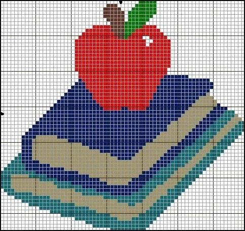 schoolbooks and apple cross stitch