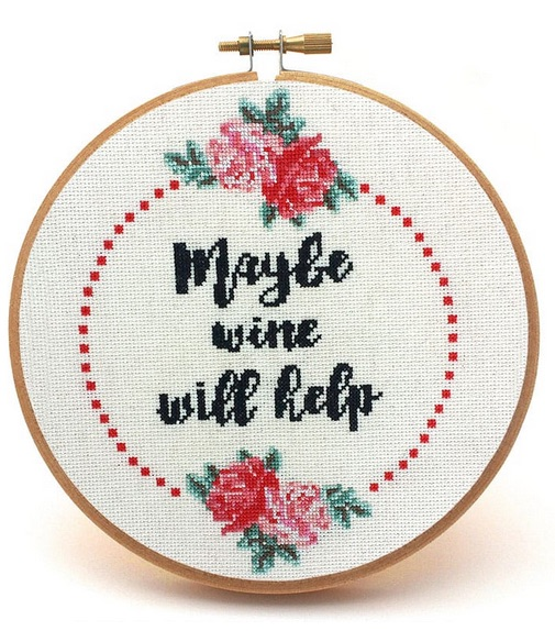 maybe wine will help cross stitch