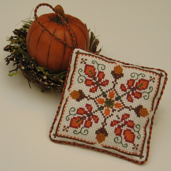 acorn medallion cross stitch pattern for fall