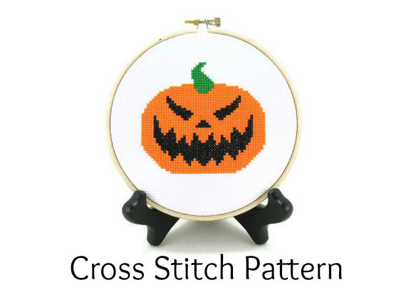 carved pumpkin cross stitch pattern