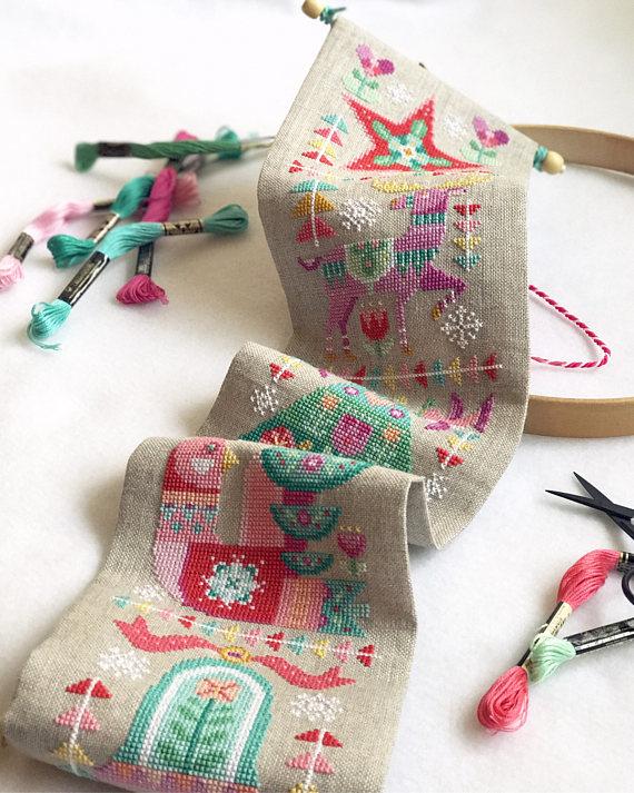 christmas bell pull cross stitch