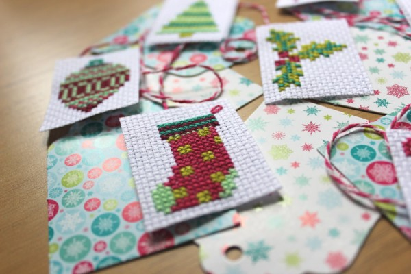 cross-stitched gift tags