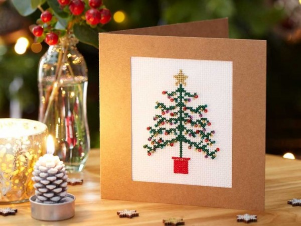 cross stitch christmas tree card