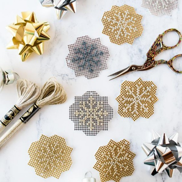 cross stitch metallic snowflakes