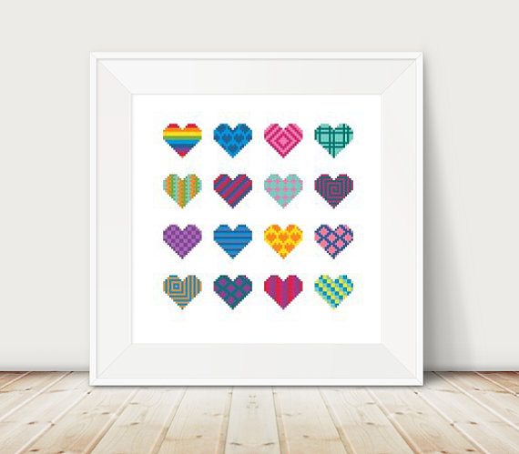 geometric hearts cross stitch pattern