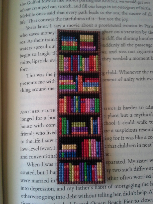 Stitch a Bookmark Covered with Bookshelves