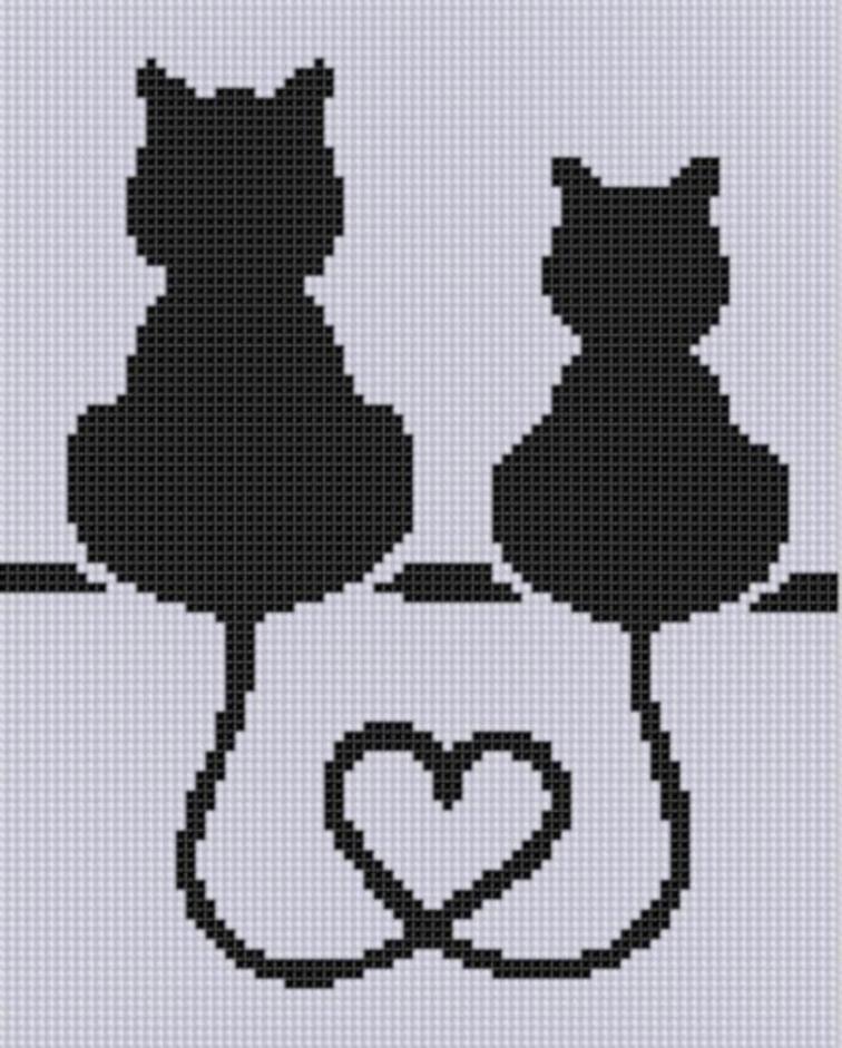 cat heart cross stitch pattern