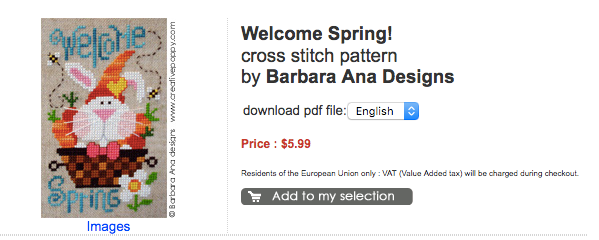 welcome spring cross stitch pattern