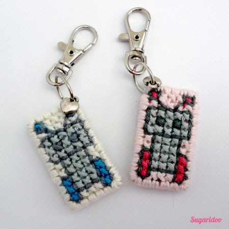 cross stitch keychains on plastic canvas