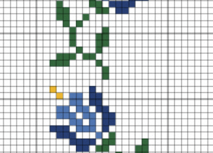 Trailing Blue Flowers Cross Stitch Border