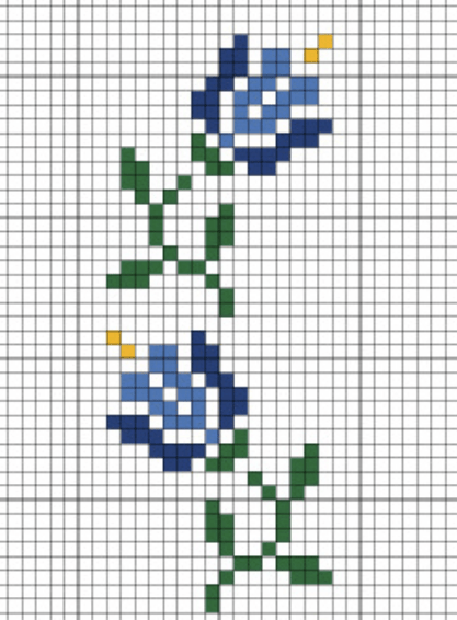 blue flowers cross stitch