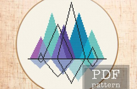 Make a Modern Mountain with Cross Stitch