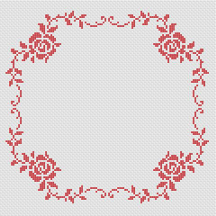 rose border cross stitch pattern