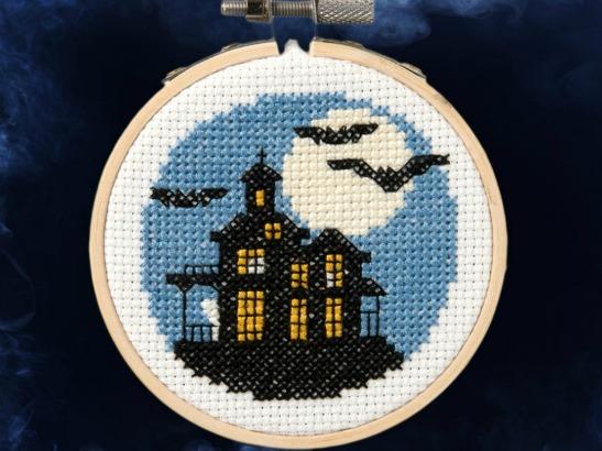 haunted house cross stitch pattern