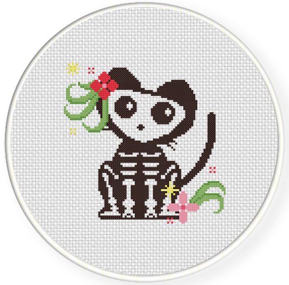 skeleton cat cross stitch pattern