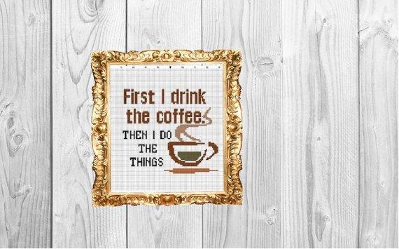 coffee cross stitch pattern