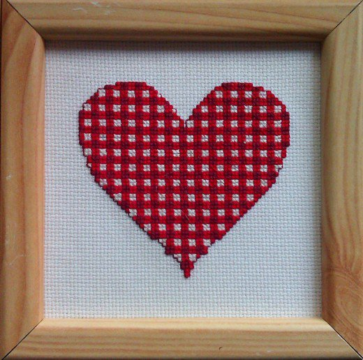 gingham heart cross stitch