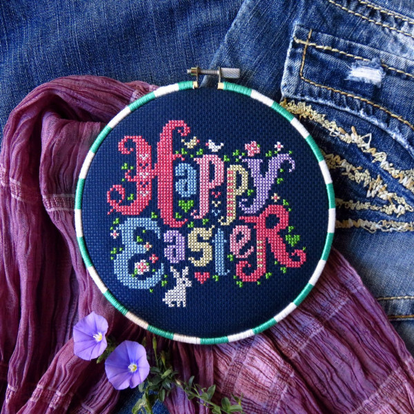 happy easter cross stitch lettering
