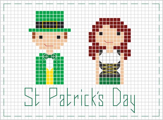 st. patrick's day people cross stitch