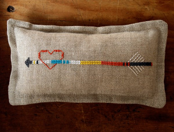 heart arrow stitched pincushion
