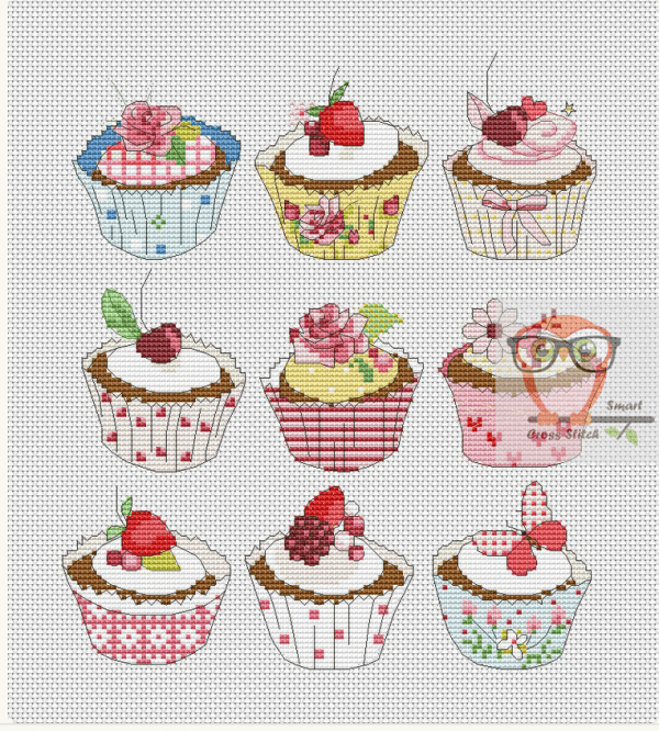 A Sweet Collection of Cupcakes to Stitch