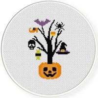 Halloween Tree Cross Stitch Pattern