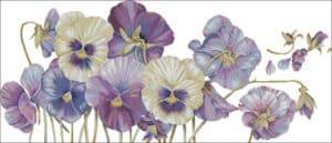 Purple pansy-free cross-stitch design