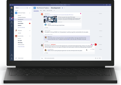 View on a standard desktop of a team conversation tab