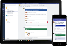 Comparative view of the Microsoft Teams app for Windows Tablet and on iOS mobile
