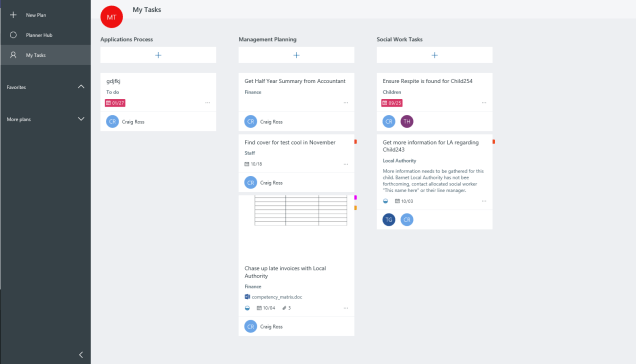 Microsoft Planner view in Office365. Similar to Microsoft Planner in Microsoft Teams, this will show tasks in a similar fashion. Different from Microsoft Teams, this will only display tasks allocated to one particular user.