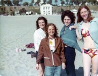 Elizabeth her sister Adrian, Josephine, and Lynn Rubin at the Santa Monica Beach in front of the Nichiren Shoshu Joint Headquarters . White building in background.