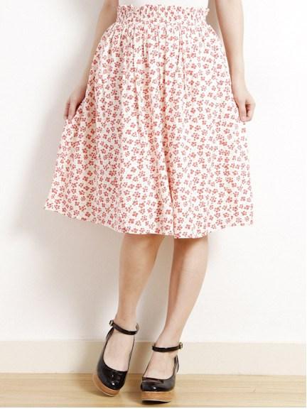 花柄ミディスカート