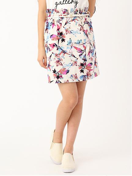 ・水彩花柄スカート