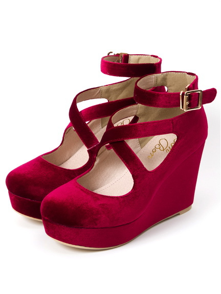 Velor Wedge Shoes