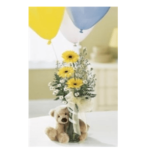 baby boy balloon bear flowers