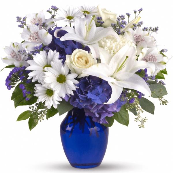 blue vase flowers