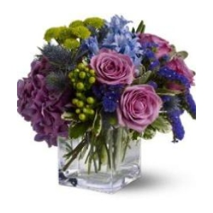 purple green blue flower arrangement