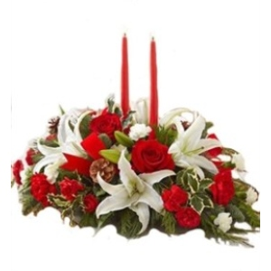 white lily christmas centerpiece arrangement