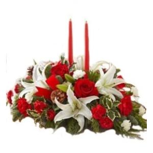 white lily christmas centerpiece arrangement