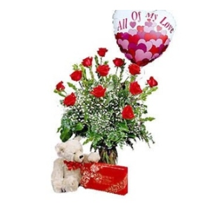 dozen roses chocolates bear balloon