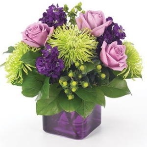 purple vase green flowers roses