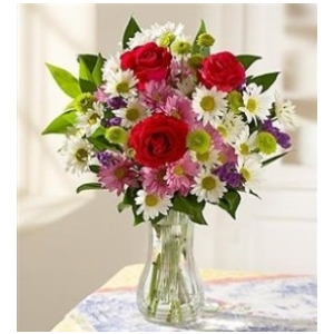 roses daisy flower vase arrangement