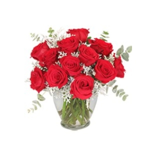 red roses with eucalyptus
