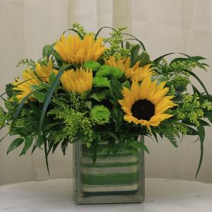 sunflowers fall arrangement vase