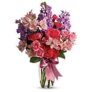 Purple pink flower vase arrangement