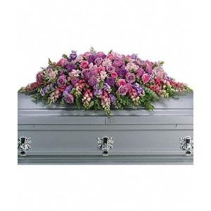 lavender rose casket spray